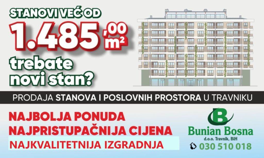 Na prodaju stanovi u Travniku (Akcija u novoj zgradi)