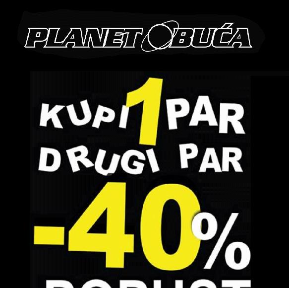Planet obuća – Akcija kupi jedan par, drugi par -40% popusta