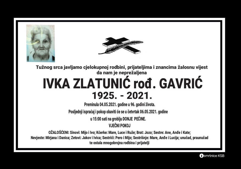 Preminula Ivka Zlatunić